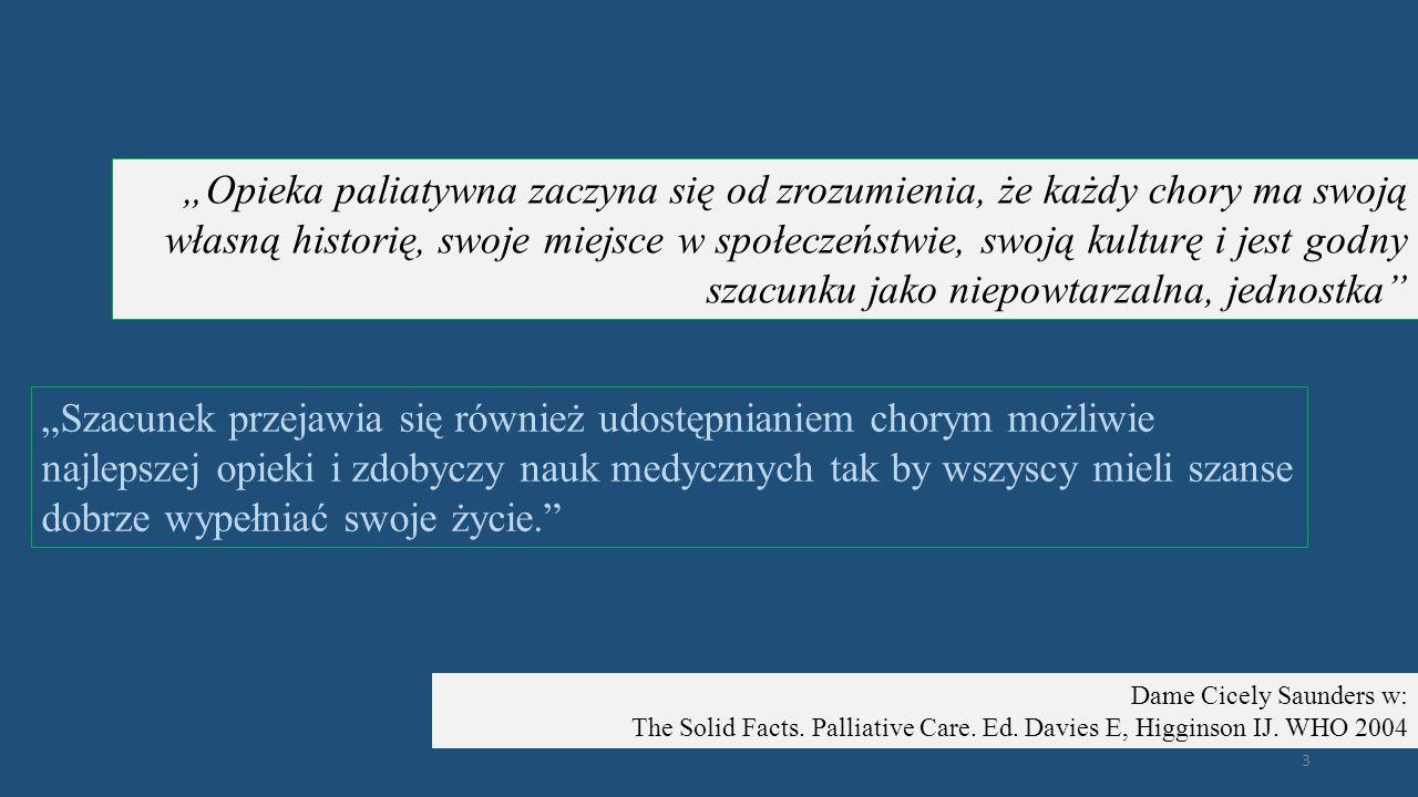 Opieka paliatywna jest dążeniem do poprawy jakości życia zarówno chorych na nieuleczalne, prowadzące do śmierci choroby, jak i ich rodzin.