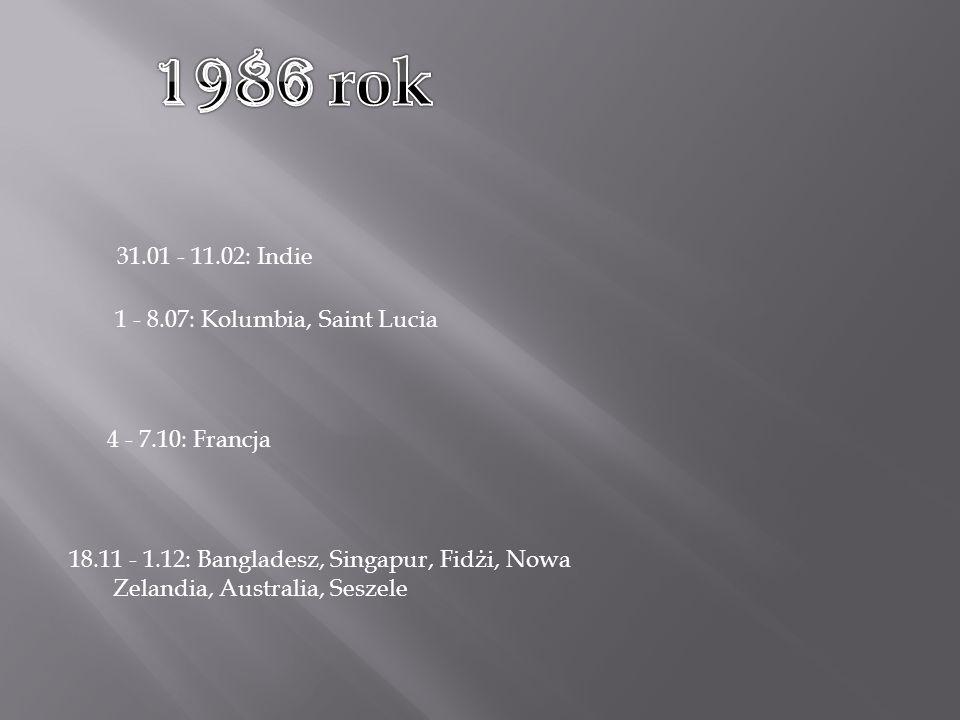 18.11 - 1.12: Bangladesz, Singapur, Fidżi, Nowa Zelandia, Australia, Seszele 31.01 - 11.02: Indie 1 - 8.07: Kolumbia, Saint Lucia 4 - 7.10: Francja