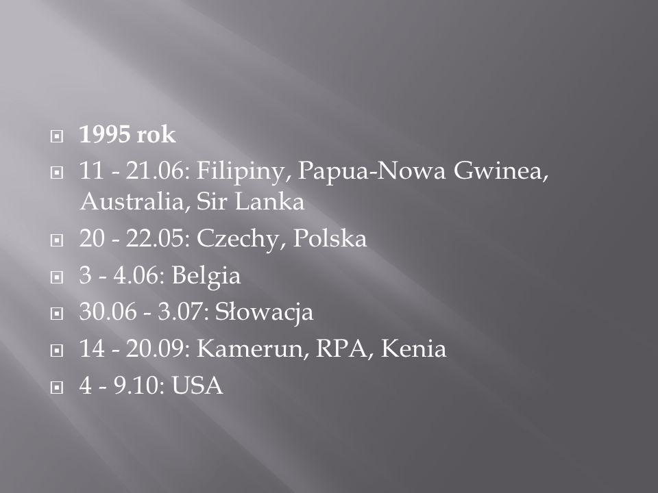  1995 rok  11 - 21.06: Filipiny, Papua-Nowa Gwinea, Australia, Sir Lanka  20 - 22.05: Czechy, Polska  3 - 4.06: Belgia  30.06 - 3.07: Słowacja  14 - 20.09: Kamerun, RPA, Kenia  4 - 9.10: USA