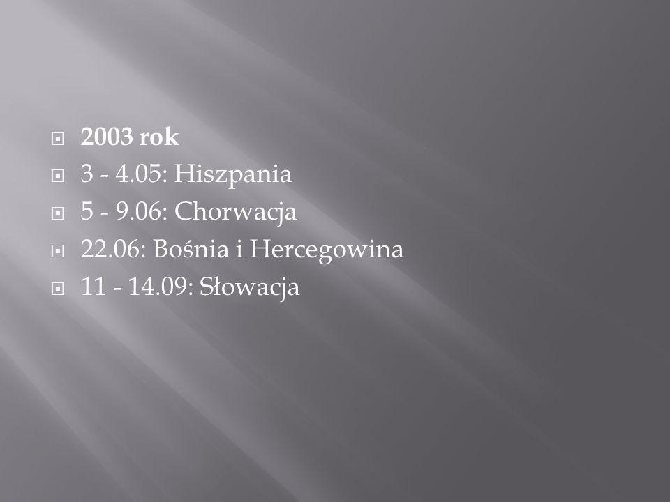  2003 rok  3 - 4.05: Hiszpania  5 - 9.06: Chorwacja  22.06: Bośnia i Hercegowina  11 - 14.09: Słowacja