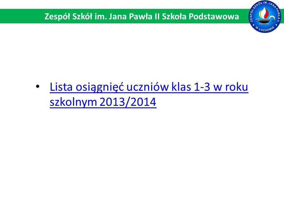 Lista osiągnięć uczniów klas 1-3 w roku szkolnym 2013/2014 Lista osiągnięć uczniów klas 1-3 w roku szkolnym 2013/2014 Zespół Szkół im. Jana Pawła II S