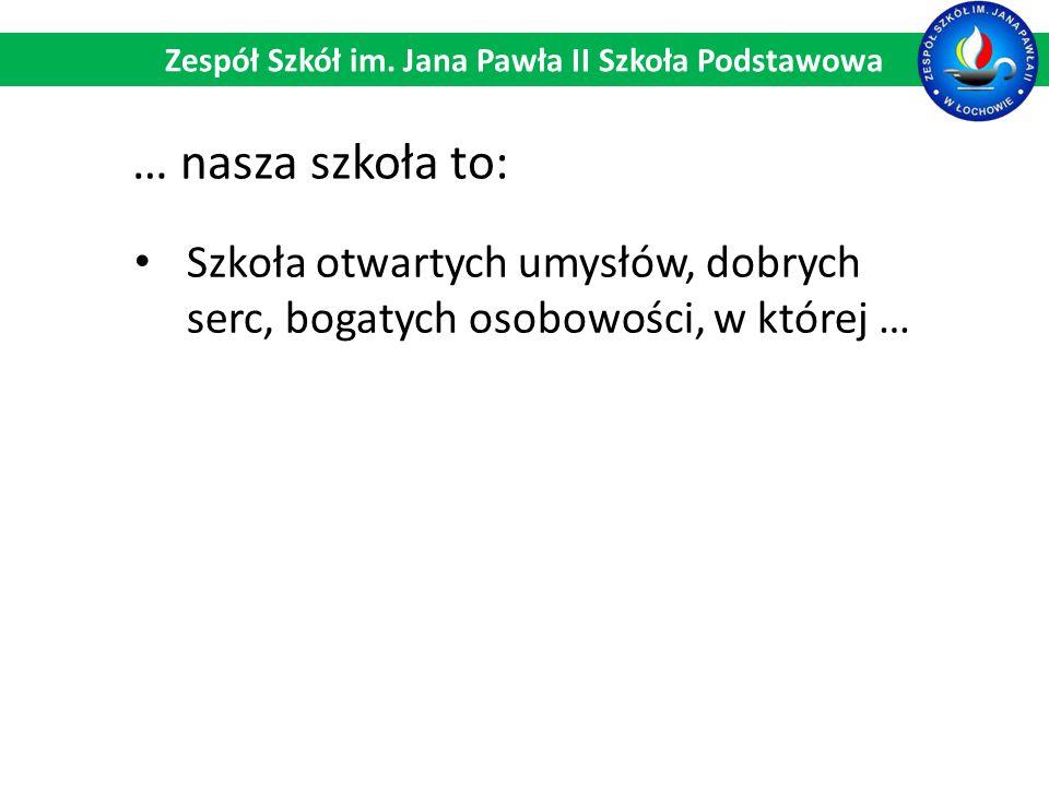 Szkoła otwartych umysłów, dobrych serc, bogatych osobowości, w której … Zespół Szkół im. Jana Pawła II Szkoła Podstawowa … nasza szkoła to:
