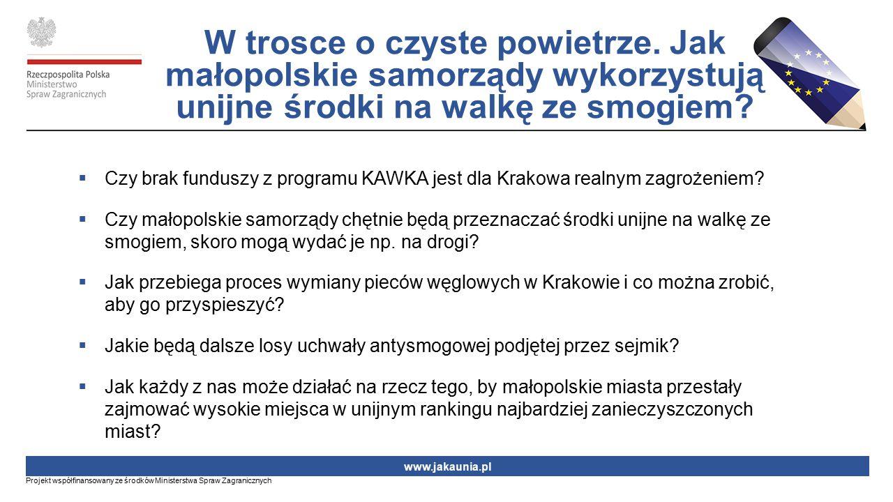  Czy brak funduszy z programu KAWKA jest dla Krakowa realnym zagrożeniem?  Czy małopolskie samorządy chętnie będą przeznaczać środki unijne na walkę
