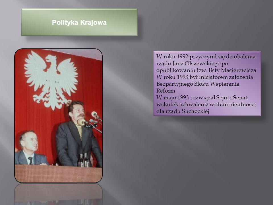 Wybory Prezydenckie 1995 19 listopada 1995 – przegrał w drugiej turze wybory prezydenckie z Aleksandrem Kwaśniewskim