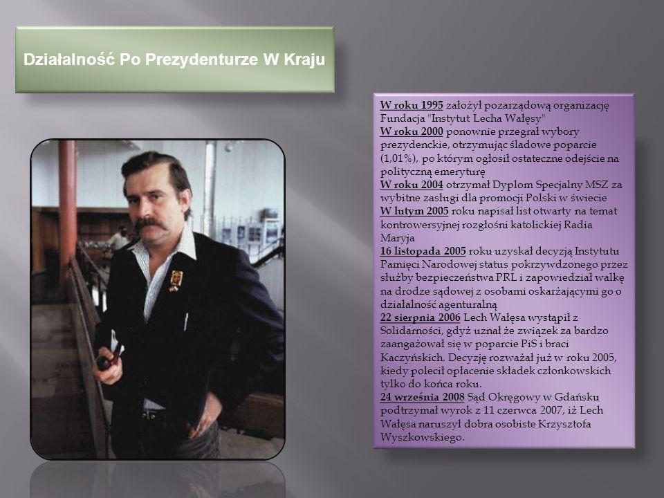 Działalność Po Prezydenturze Za Granicą W lutym 2002 – podczas uroczystego otwarcia Zimowych Igrzysk Olimpijskich 2002 reprezentował Europę, niosąc flagę olimpijską u boku sławnych przedstawicieli pozostałych kontynentów W czerwcu 2004 - jako pełnomocnik Prezydenta RP Kwaśniewskiego reprezentował władze polskie na pogrzebie byłego prezydenta USA Ronalda Reagana Pod koniec 2004 – poparł publicznie Pomarańczową Rewolucję na Ukrainie – jego widok na wiecu na kijowskim Majdanie wywołał euforię tłumów.
