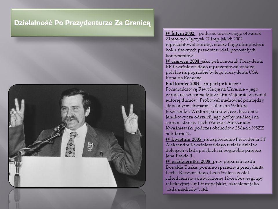 Polskie Ordery I Odznaczenia Lech Wałęsa z tytułu swego wyboru na urząd Prezydenta RP stał się:  Kawalerem Orderu Orła Białego, Wielkim Mistrzem Orderu i przewodniczył jego Kapitule,  Kawalerem Orderu Odrodzenia Polski I klasy, Wielkim Mistrzem Orderu i przewodniczył jego Kapitule.