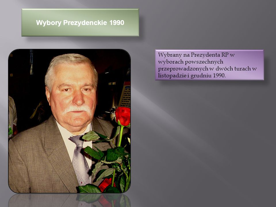 Polityka Zagraniczna W roku 1991 jako pierwszy w historii prezydent Polski złożył wizytę w Izraelu W roku 1991 jako nowo wybrany prezydent III Rzeczypospolitej odwiedził Stany Zjednoczone i spotkał się z działaczami oraz przywódcami Kongresu Polonii Amerykańskiej w Waszyngtonie, Chicago i wielu innych centrach licznej ludności polskiej W marcu 1992, w czasie wizyty w Niemczech wysunął koncepcje NATO- bis i EWG-bis, będące alternatywą dla NATO i EWG dla państw Europy Środkowej