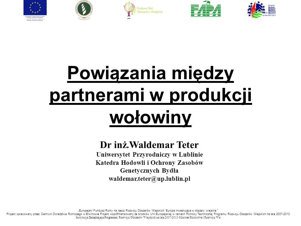 Powiązania między partnerami w produkcji wołowiny Dr inż.Waldemar Teter Uniwersytet Przyrodniczy w Lublinie Katedra Hodowli i Ochrony Zasobów Genetycz