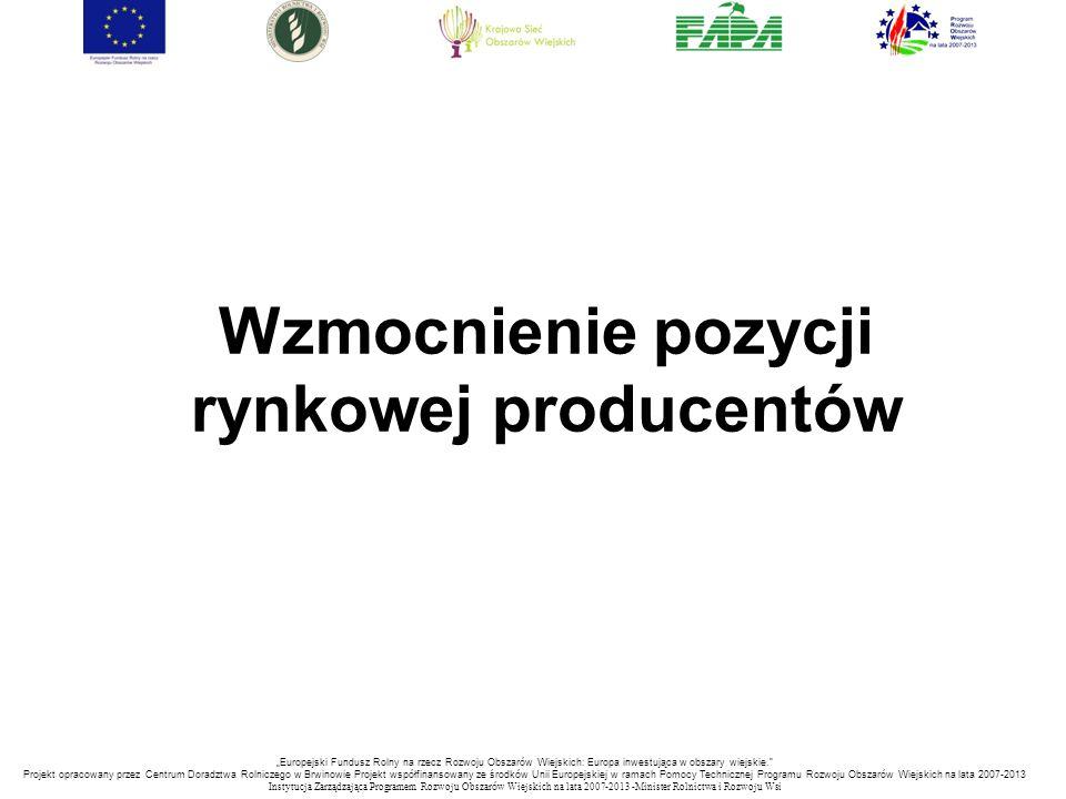 """Wzmocnienie pozycji rynkowej producentów """"Europejski Fundusz Rolny na rzecz Rozwoju Obszarów Wiejskich: Europa inwestująca w obszary wiejskie."""" Projek"""