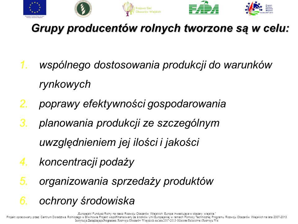 Grupy producentów rolnych tworzone są w celu: 1.wspólnego dostosowania produkcji do warunków rynkowych 2.poprawy efektywności gospodarowania 3.planowa