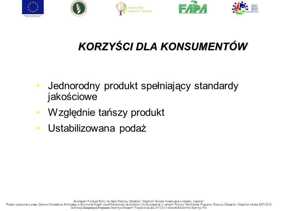 """KORZYŚCI DLA KONSUMENTÓW Jednorodny produkt spełniający standardy jakościowe Względnie tańszy produkt Ustabilizowana podaż """"Europejski Fundusz Rolny n"""