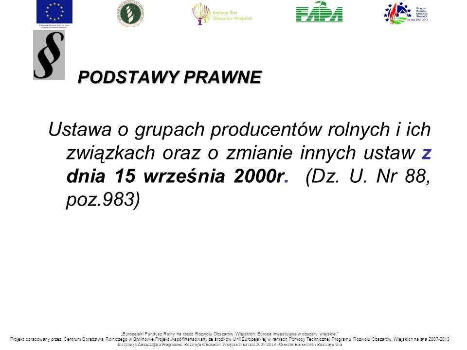 PODSTAWY PRAWNE PODSTAWY PRAWNE Ustawa o grupach producentów rolnych i ich związkach oraz o zmianie innych ustaw z dnia 15 września 2000r. (Dz. U. Nr