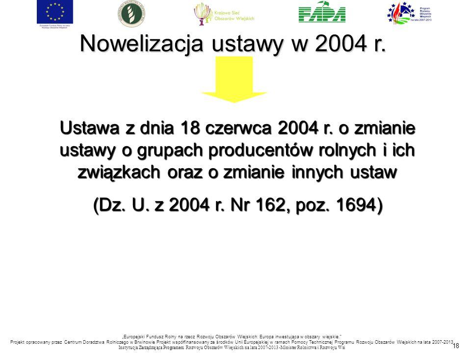 18 Nowelizacja ustawy w 2004 r. Ustawa z dnia 18 czerwca 2004 r. o zmianie ustawy o grupach producentów rolnych i ich związkach oraz o zmianie innych