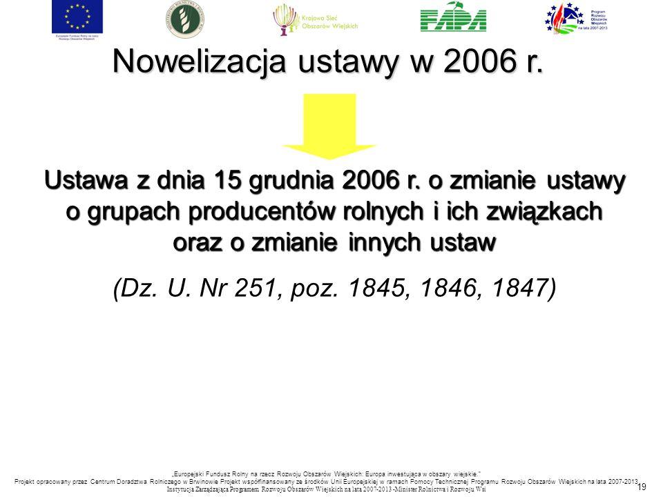 19 Nowelizacja ustawy w 2006 r. Ustawa z dnia 15 grudnia 2006 r. o zmianie ustawy o grupach producentów rolnych i ich związkach oraz o zmianie innych