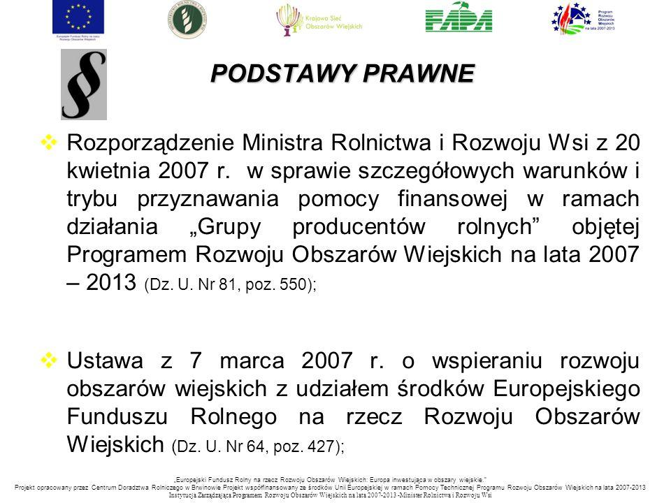 PODSTAWY PRAWNE PODSTAWY PRAWNE  Rozporządzenie Ministra Rolnictwa i Rozwoju Wsi z 20 kwietnia 2007 r. w sprawie szczegółowych warunków i trybu przyz