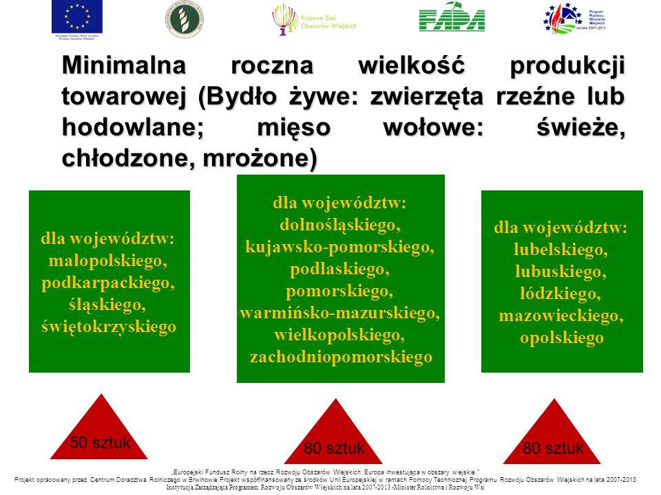 Minimalna roczna wielkość produkcji towarowej (Bydło żywe: zwierzęta rzeźne lub hodowlane; mięso wołowe: świeże, chłodzone, mrożone) dla województw: m