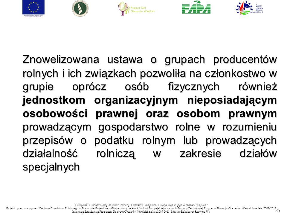 35 Znowelizowana ustawa o grupach producentów rolnych i ich związkach pozwoliła na członkostwo w grupie oprócz osób fizycznych również jednostkom orga