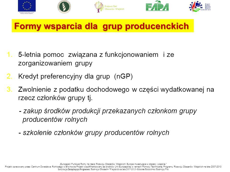 Formy wsparcia dla grup producenckich 1.5-letnia pomoc związana z funkcjonowaniem i ze zorganizowaniem grupy 2.Kredyt preferencyjny dla grup (nGP) 3.Z