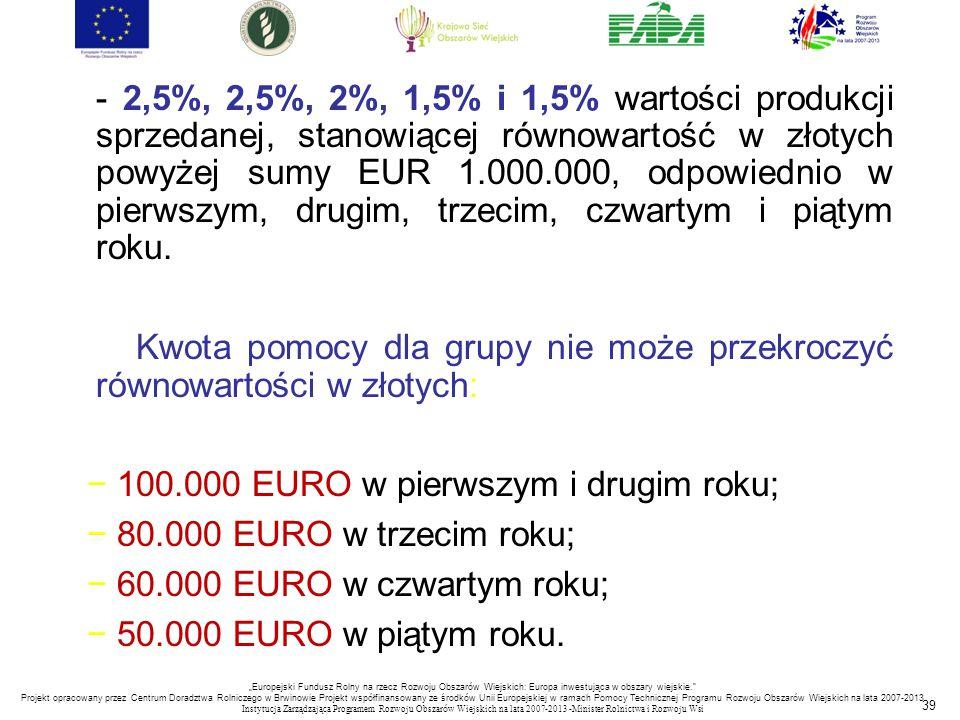 39 - 2,5%, 2,5%, 2%, 1,5% i 1,5% wartości produkcji sprzedanej, stanowiącej równowartość w złotych powyżej sumy EUR 1.000.000, odpowiednio w pierwszym