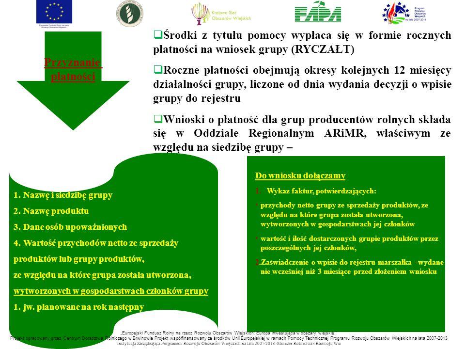  Środki z tytułu pomocy wypłaca się w formie rocznych płatności na wniosek grupy (RYCZAŁT)  Roczne płatności obejmują okresy kolejnych 12 miesięcy d