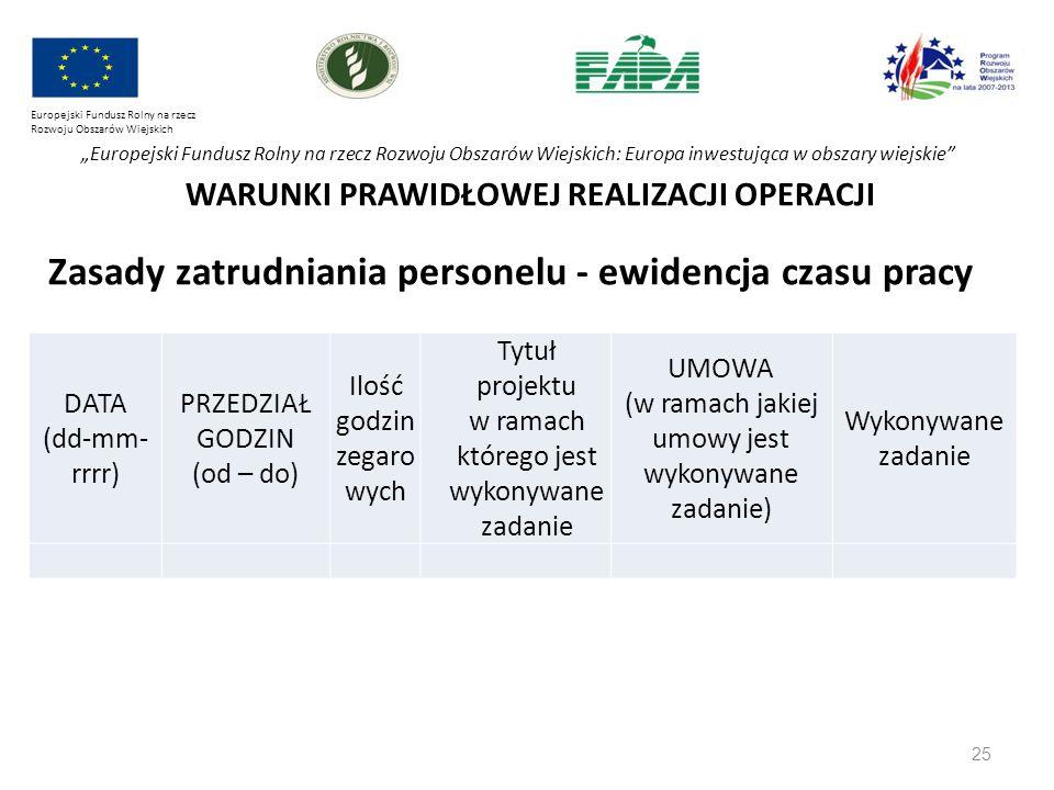 """25 Europejski Fundusz Rolny na rzecz Rozwoju Obszarów Wiejskich """"Europejski Fundusz Rolny na rzecz Rozwoju Obszarów Wiejskich: Europa inwestująca w obszary wiejskie WARUNKI PRAWIDŁOWEJ REALIZACJI OPERACJI Zasady zatrudniania personelu - ewidencja czasu pracy DATA (dd-mm- rrrr) PRZEDZIAŁ GODZIN (od – do) Ilość godzin zegaro wych Tytuł projektu w ramach którego jest wykonywane zadanie UMOWA (w ramach jakiej umowy jest wykonywane zadanie) Wykonywane zadanie"""