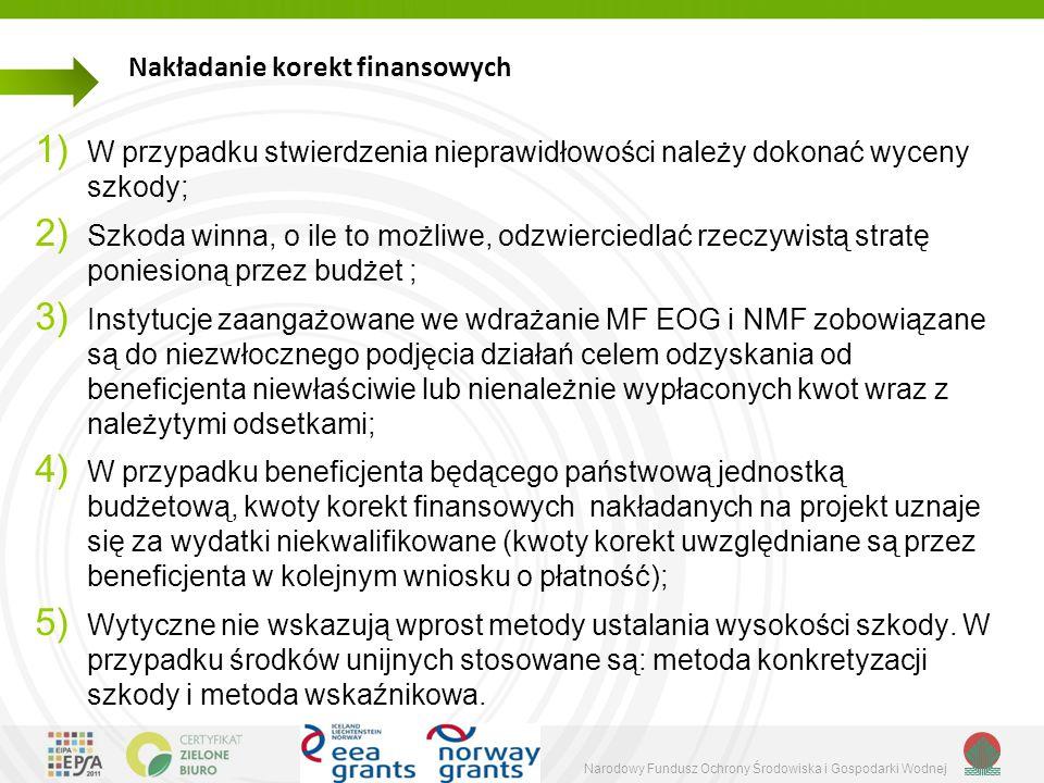 Narodowy Fundusz Ochrony Środowiska i Gospodarki Wodnej Nakładanie korekt finansowych 1) W przypadku stwierdzenia nieprawidłowości należy dokonać wyceny szkody; 2) Szkoda winna, o ile to możliwe, odzwierciedlać rzeczywistą stratę poniesioną przez budżet ; 3) Instytucje zaangażowane we wdrażanie MF EOG i NMF zobowiązane są do niezwłocznego podjęcia działań celem odzyskania od beneficjenta niewłaściwie lub nienależnie wypłaconych kwot wraz z należytymi odsetkami; 4) W przypadku beneficjenta będącego państwową jednostką budżetową, kwoty korekt finansowych nakładanych na projekt uznaje się za wydatki niekwalifikowane (kwoty korekt uwzględniane są przez beneficjenta w kolejnym wniosku o płatność); 5) Wytyczne nie wskazują wprost metody ustalania wysokości szkody.