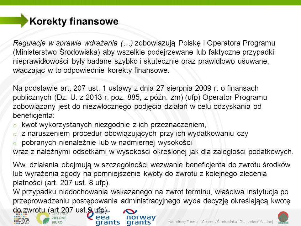 Narodowy Fundusz Ochrony Środowiska i Gospodarki Wodnej Korekty finansowe Regulacje w sprawie wdrażania (…) zobowiązują Polskę i Operatora Programu (Ministerstwo Środowiska) aby wszelkie podejrzewane lub faktyczne przypadki nieprawidłowości były badane szybko i skutecznie oraz prawidłowo usuwane, włączając w to odpowiednie korekty finansowe.