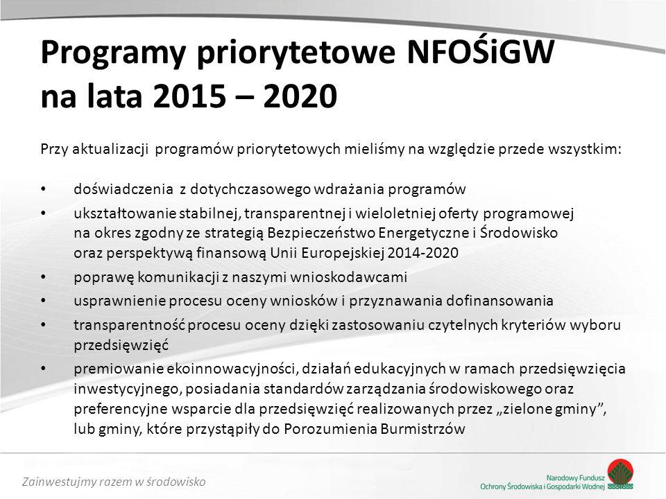"""Zainwestujmy razem w środowisko Programy priorytetowe NFOŚiGW na lata 2015 – 2020 Przy aktualizacji programów priorytetowych mieliśmy na względzie przede wszystkim: doświadczenia z dotychczasowego wdrażania programów ukształtowanie stabilnej, transparentnej i wieloletniej oferty programowej na okres zgodny ze strategią Bezpieczeństwo Energetyczne i Środowisko oraz perspektywą finansową Unii Europejskiej 2014-2020 poprawę komunikacji z naszymi wnioskodawcami usprawnienie procesu oceny wniosków i przyznawania dofinansowania transparentność procesu oceny dzięki zastosowaniu czytelnych kryteriów wyboru przedsięwzięć premiowanie ekoinnowacyjności, działań edukacyjnych w ramach przedsięwzięcia inwestycyjnego, posiadania standardów zarządzania środowiskowego oraz preferencyjne wsparcie dla przedsięwzięć realizowanych przez """"zielone gminy , lub gminy, które przystąpiły do Porozumienia Burmistrzów"""