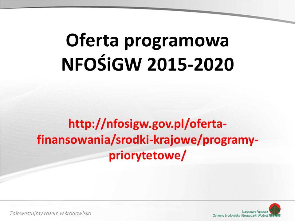 Zainwestujmy razem w środowisko Oferta programowa NFOŚiGW 2015-2020 http://nfosigw.gov.pl/oferta- finansowania/srodki-krajowe/programy- priorytetowe/