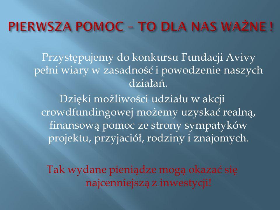 Przystępujemy do konkursu Fundacji Avivy pełni wiary w zasadność i powodzenie naszych działań.
