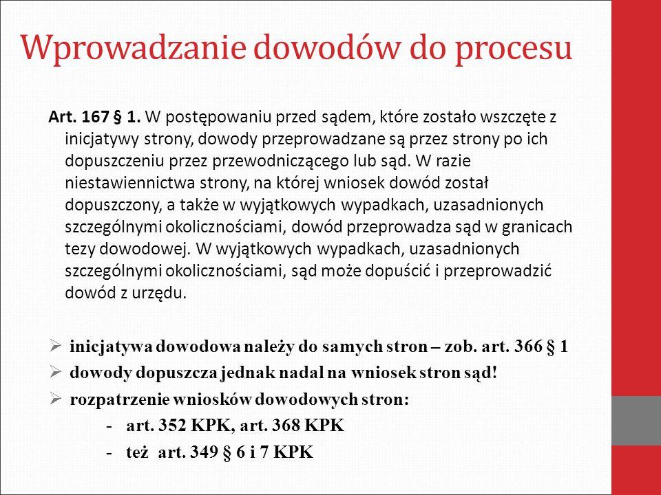 Wprowadzanie dowodów do procesu Art. 167 § 1. W postępowaniu przed sądem, które zostało wszczęte z inicjatywy strony, dowody przeprowadzane są przez s