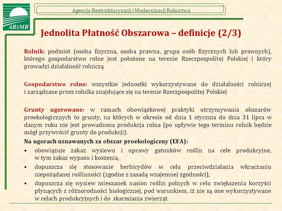 Agencja Restrukturyzacji i Modernizacji Rolnictwa Jednolita Płatność Obszarowa – definicje (2/3) Rolnik: podmiot (osoba fizyczna, osoba prawna, grupa