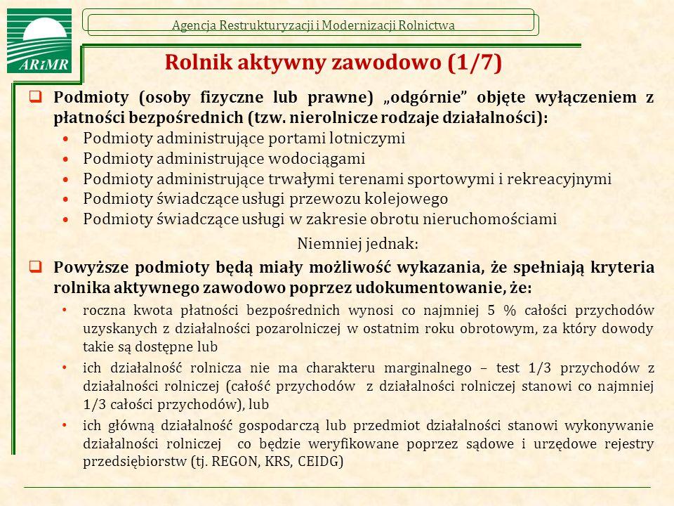 """Agencja Restrukturyzacji i Modernizacji Rolnictwa Rolnik aktywny zawodowo (1/7)  Podmioty (osoby fizyczne lub prawne) """"odgórnie"""" objęte wyłączeniem z"""