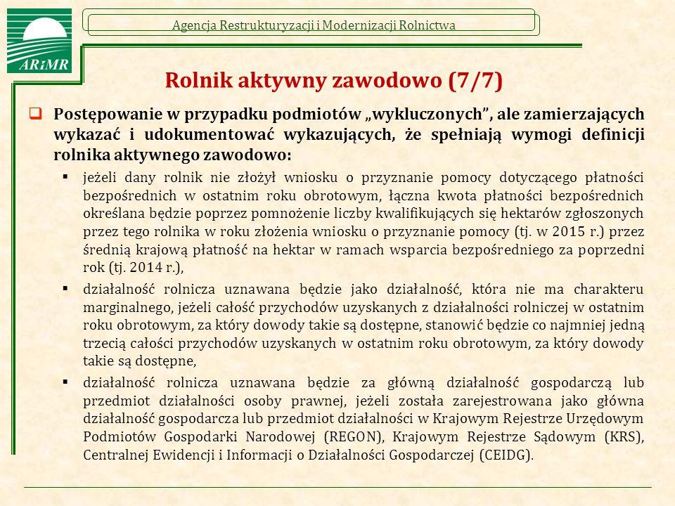 """Agencja Restrukturyzacji i Modernizacji Rolnictwa Rolnik aktywny zawodowo (7/7)  Postępowanie w przypadku podmiotów """"wykluczonych"""", ale zamierzającyc"""