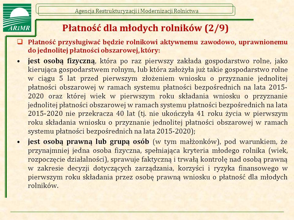 Agencja Restrukturyzacji i Modernizacji Rolnictwa Płatność dla młodych rolników (2/9)  Płatność przysługiwać będzie rolnikowi aktywnemu zawodowo, upr