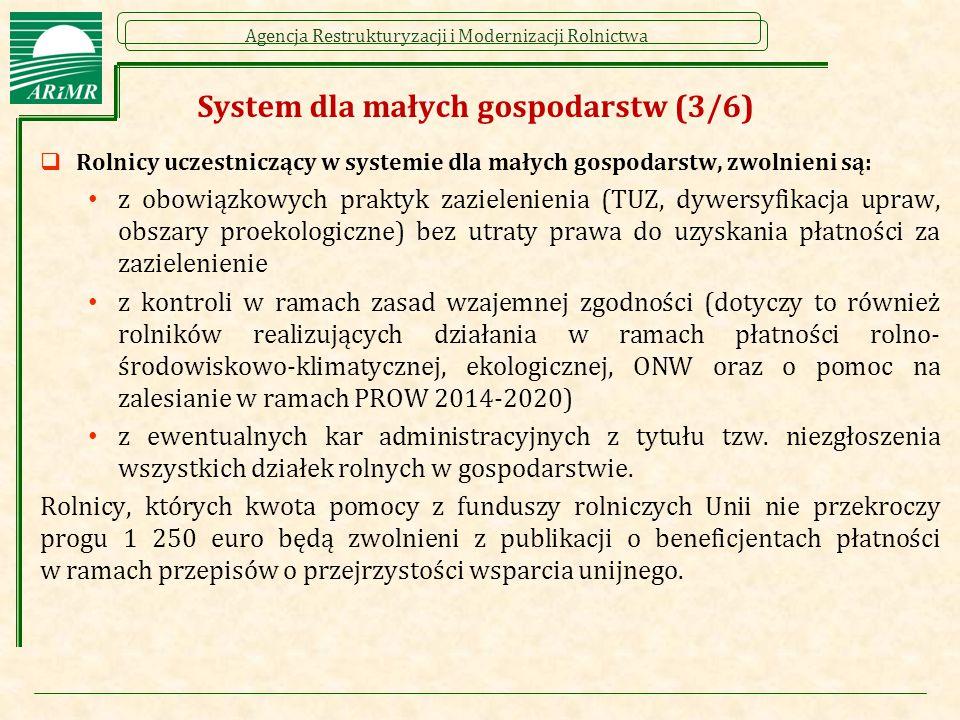 Agencja Restrukturyzacji i Modernizacji Rolnictwa System dla małych gospodarstw (3/6)  Rolnicy uczestniczący w systemie dla małych gospodarstw, zwoln