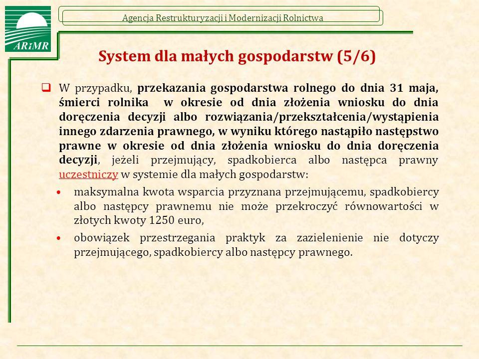 Agencja Restrukturyzacji i Modernizacji Rolnictwa  W przypadku, przekazania gospodarstwa rolnego do dnia 31 maja, śmierci rolnika w okresie od dnia z