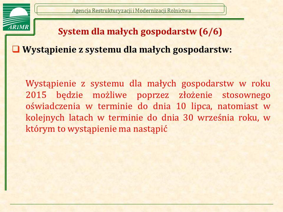 Agencja Restrukturyzacji i Modernizacji Rolnictwa System dla małych gospodarstw (6/6)  Wystąpienie z systemu dla małych gospodarstw: Wystąpienie z sy