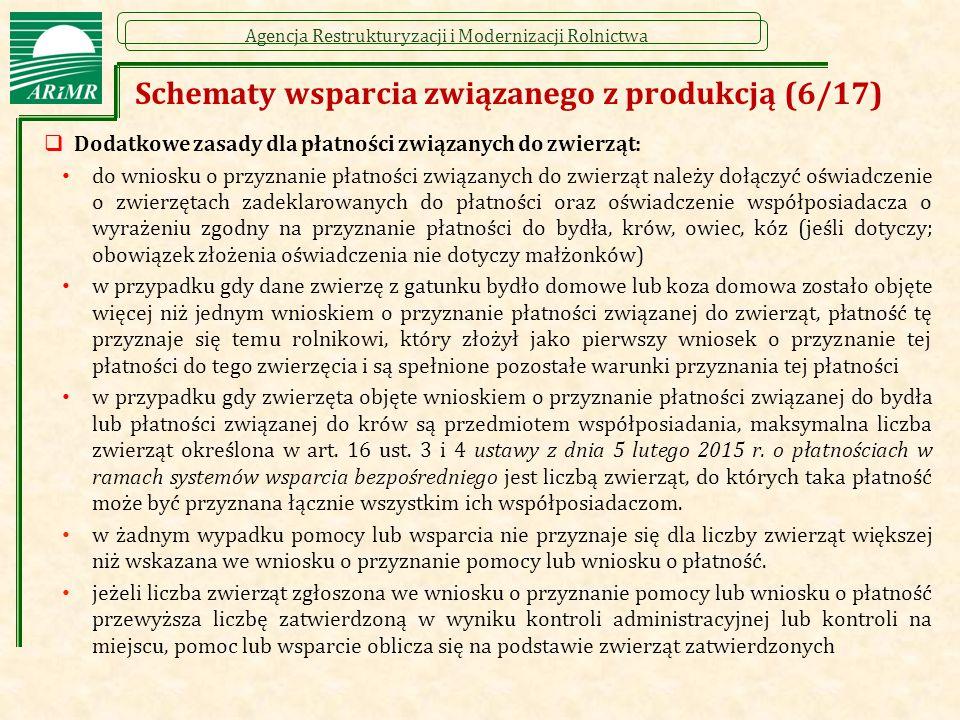 Agencja Restrukturyzacji i Modernizacji Rolnictwa  Dodatkowe zasady dla płatności związanych do zwierząt: do wniosku o przyznanie płatności związanyc