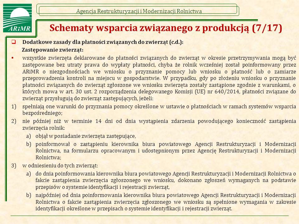 Agencja Restrukturyzacji i Modernizacji Rolnictwa Schematy wsparcia związanego z produkcją (7/17)  Dodatkowe zasady dla płatności związanych do zwier