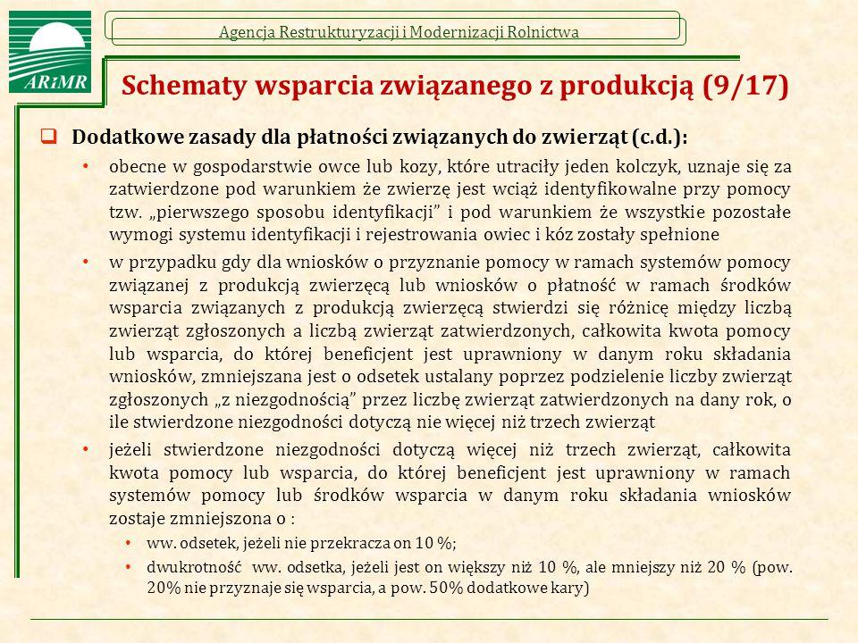 Agencja Restrukturyzacji i Modernizacji Rolnictwa Schematy wsparcia związanego z produkcją (9/17)  Dodatkowe zasady dla płatności związanych do zwier