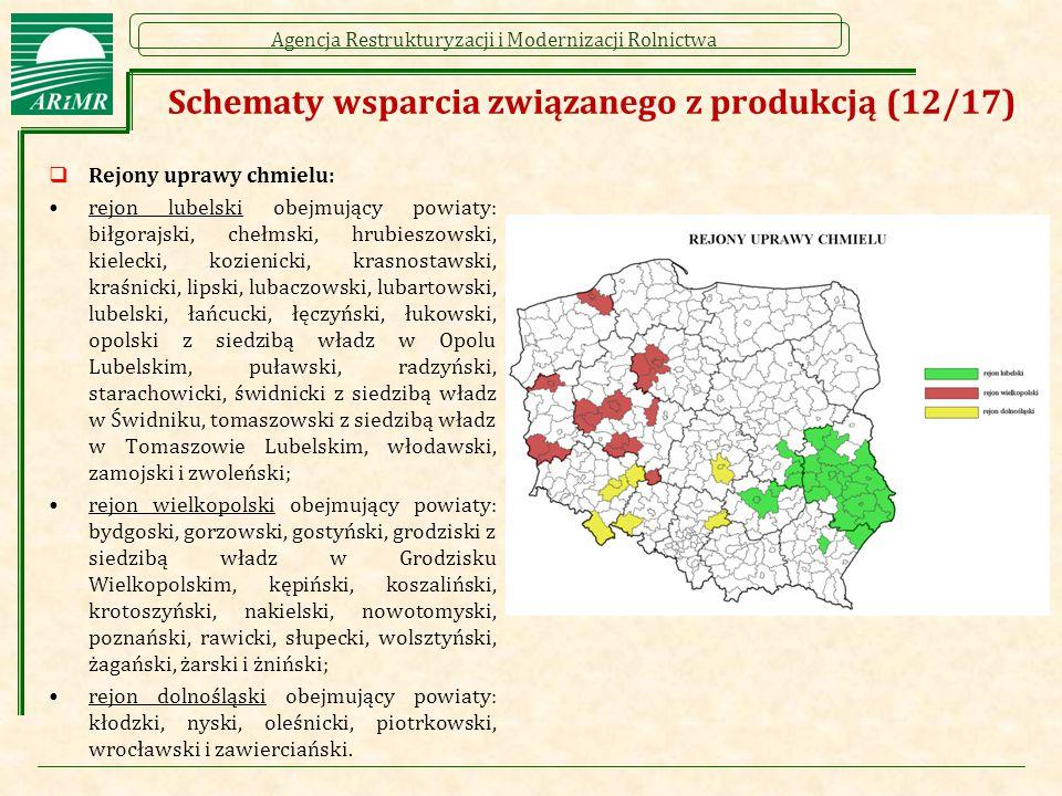 Agencja Restrukturyzacji i Modernizacji Rolnictwa  Rejony uprawy chmielu: rejon lubelski obejmujący powiaty: biłgorajski, chełmski, hrubieszowski, ki