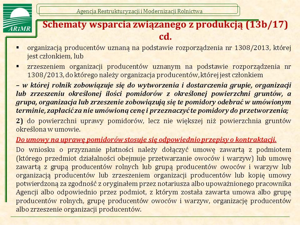 Agencja Restrukturyzacji i Modernizacji Rolnictwa Schematy wsparcia związanego z produkcją (13b/17) cd.  organizacją producentów uznaną na podstawie