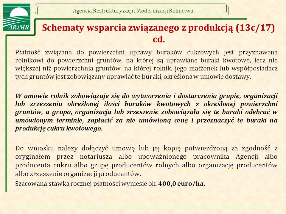 Agencja Restrukturyzacji i Modernizacji Rolnictwa Schematy wsparcia związanego z produkcją (13c/17) cd. Płatność związana do powierzchni uprawy burakó