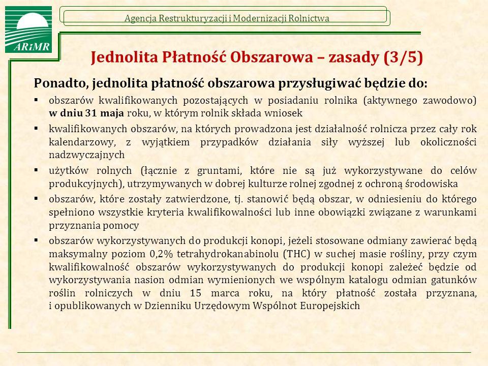 Agencja Restrukturyzacji i Modernizacji Rolnictwa Jednolita Płatność Obszarowa – zasady (3/5) Ponadto, jednolita płatność obszarowa przysługiwać będzi