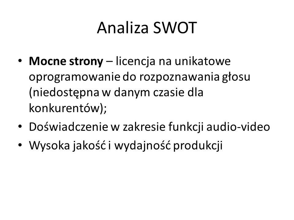 Analiza SWOT Mocne strony – licencja na unikatowe oprogramowanie do rozpoznawania głosu (niedostępna w danym czasie dla konkurentów); Doświadczenie w