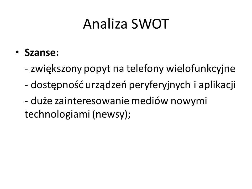 Analiza SWOT Szanse: - zwiększony popyt na telefony wielofunkcyjne - dostępność urządzeń peryferyjnych i aplikacji - duże zainteresowanie mediów nowym