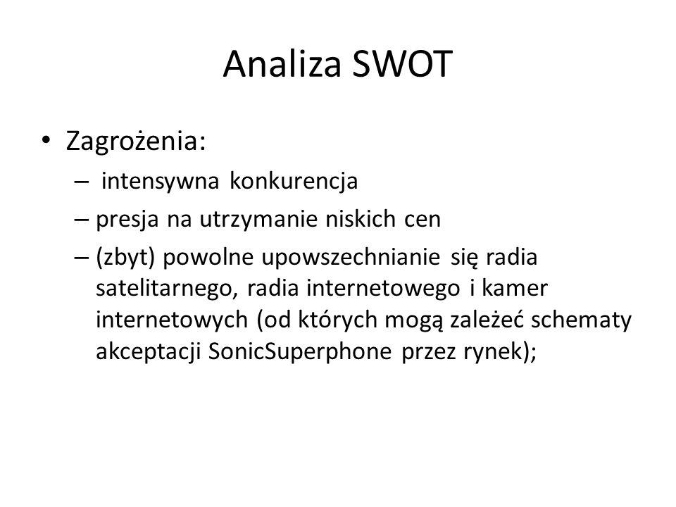 Analiza SWOT Zagrożenia: – intensywna konkurencja – presja na utrzymanie niskich cen – (zbyt) powolne upowszechnianie się radia satelitarnego, radia i