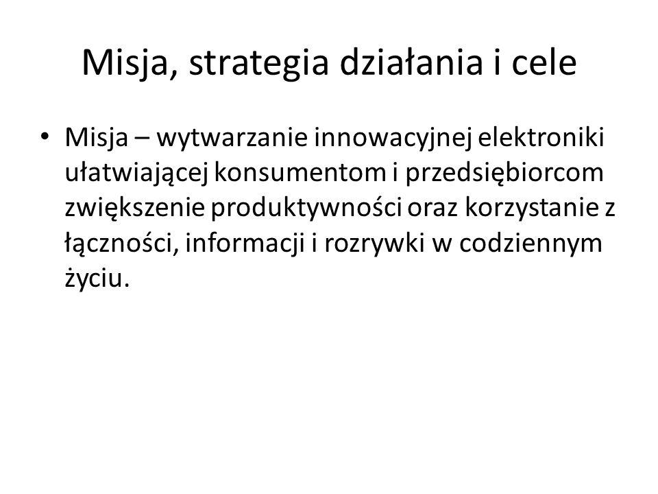 Misja, strategia działania i cele Misja – wytwarzanie innowacyjnej elektroniki ułatwiającej konsumentom i przedsiębiorcom zwiększenie produktywności o