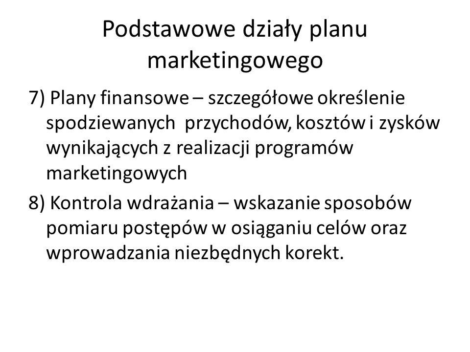 Podstawowe działy planu marketingowego 7) Plany finansowe – szczegółowe określenie spodziewanych przychodów, kosztów i zysków wynikających z realizacj
